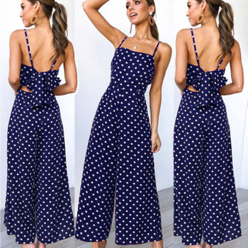 Meihuida Womens Dot Holiday Long Jumpsuits Sling Rompers Back Bow Costume 3