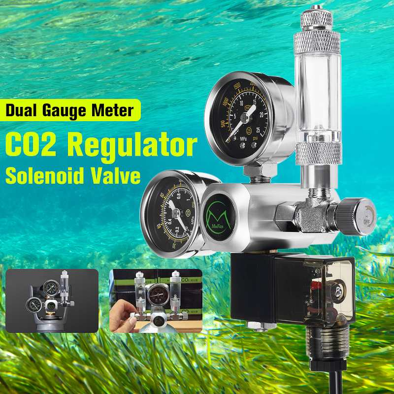 220 V précis Aquarium CO2 régulateur G5/8 magnétique solénoïde clapet anti-retour Aquarium bulle compteur poisson réservoir outil CO2 contrôle