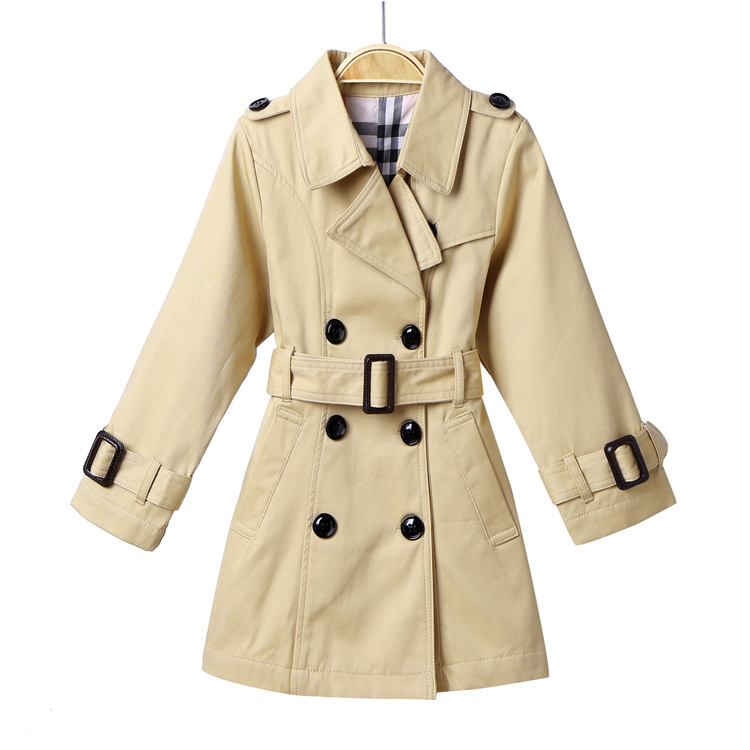 2018 girls Double-breasted belt cotton classic trench coat of cultivate one's morality double breasted belt embellished trench coat page 4