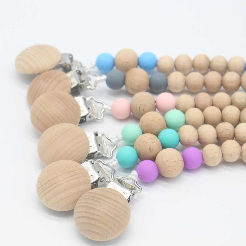 Буковые бусины успокаивающее средство с силиконовыми бусинами держатель соски цепи жевать манекен клип цепочки для соски прорезывания зубов игрушка