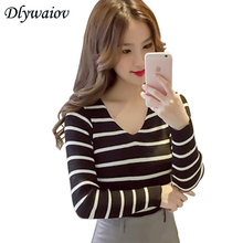 Knitted Sweaters Fashion Sexy V neck Sweater Women Autumn New Back Hollow Knit Pullover Black White Stripe Pull Femme 2018 white crew neck v back sweater