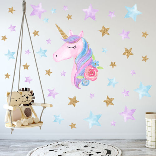 Unicorn Hearts Stars Wall Stickers Kids Girl Home Bedroom Decor Decals Vinyl Art