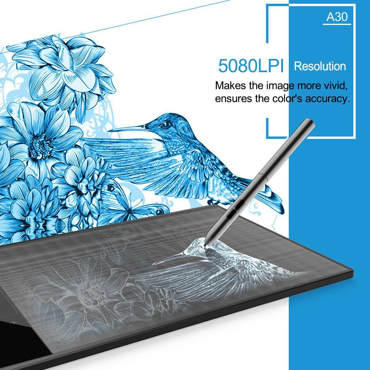 Tablette de dessin graphique A30 pour illustrateur 10x6 pouces grande zone Active bloc de dessin numérique avec stylo passif 8192 niveaux - 6