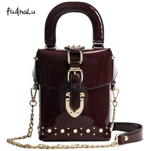 FuAhaLu patent leather handbags Korean crossbody bags for women the chain rivet Messenger bag glossy surface bucket