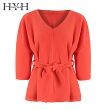 HYH HAOYIHUI 2019 Sexy V-collar Loose-Sleeved Casual Shirt Sweet Solid Streetwear V-Neck  Summer Fation Tops