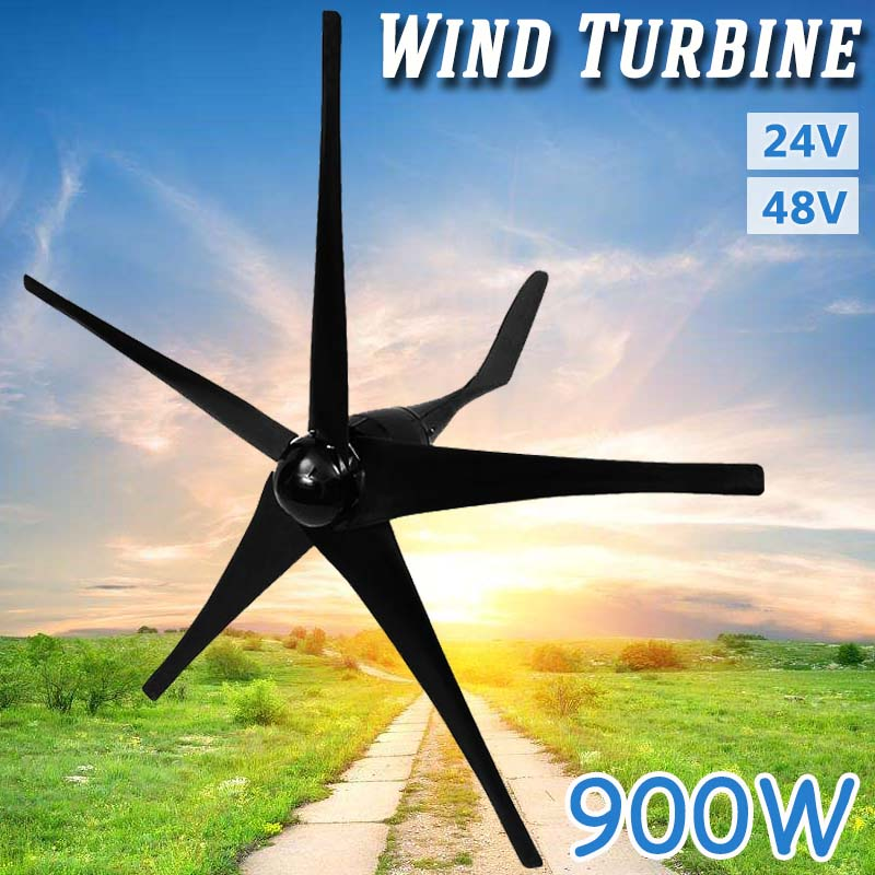 900 W 24 V 48 Volts 5 Nylon Fiber Lames Éoliennes Horizontales Puissance Du Générateur Moulin À Vent D'énergie Chargeur Kit Maison noir