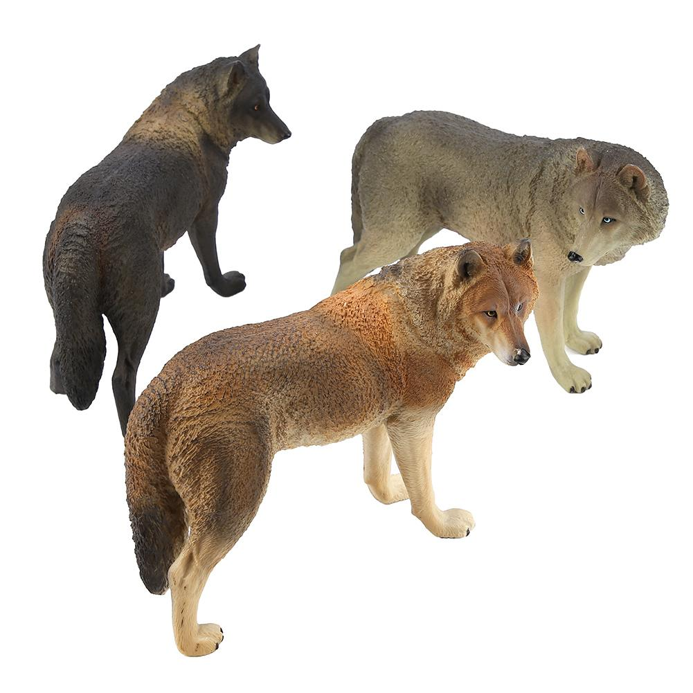 Ornament Animal Model-Toy Figurine Simulation Collectibles Brown Wolf Action-Playset