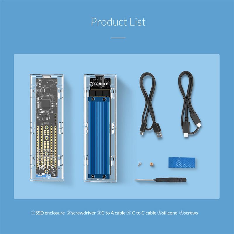 ORICO Type-c NVME M.2 HDD Boîte USB C SSD Boîtier Boîtier jusqu'à GEN2 10gbps Supprot 2 to avec Câble - 6
