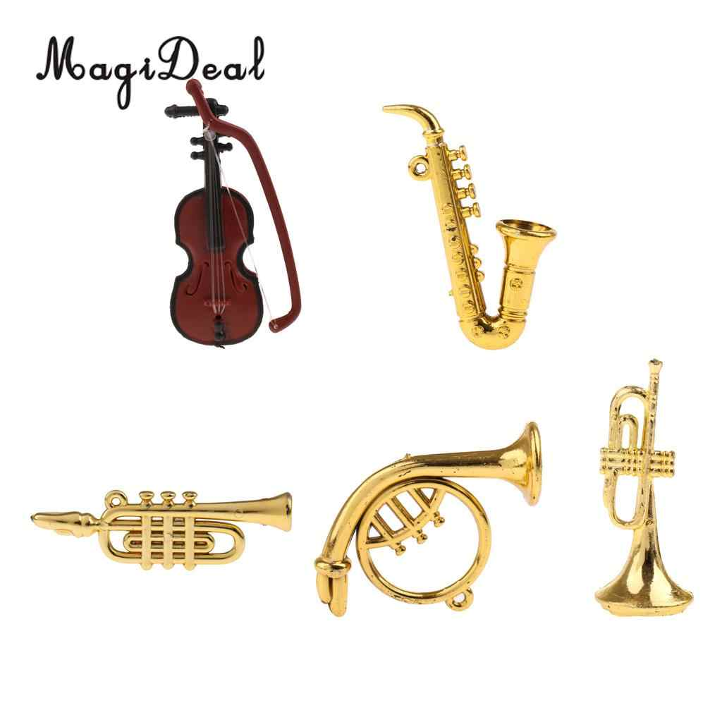 5Pcs/Set Miniature Musical Instrument Model for 1/12 Dollhouse Action Figures Display Living Room Office Decor Great Kids Gift