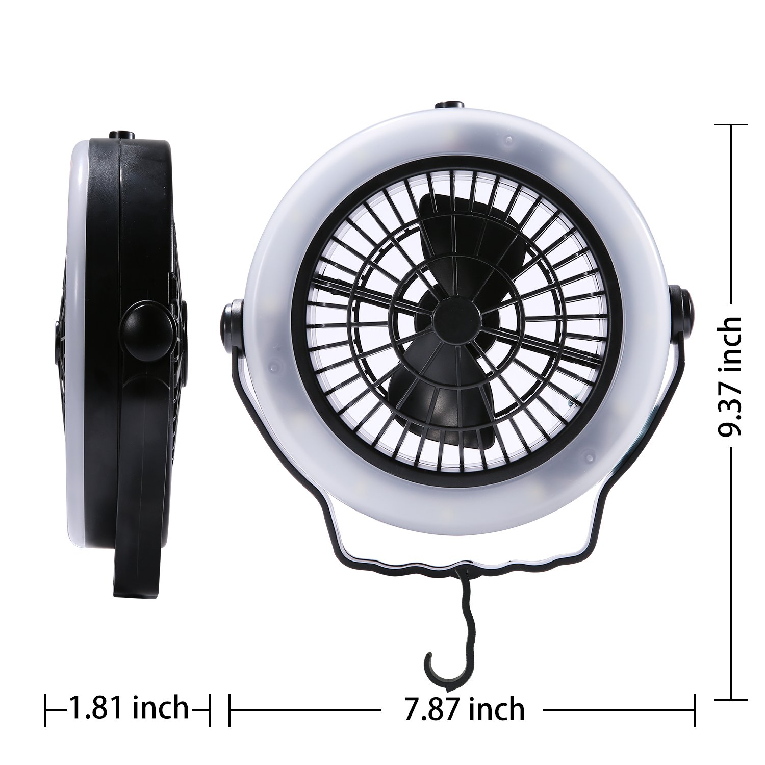 Tent Fan Light Led Camping Hiking Gear Equipment Usb Powered Outdoor Portable Ceiling Lamp Camping Equipment