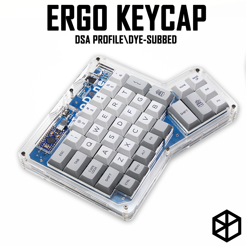 Dsa Ergodox Ergo Pbt Dye Subbed Keycaps Custom Mechanical Keyboards Infinity ErgoDox Ergonomic Keyboard Keycaps Light Grey