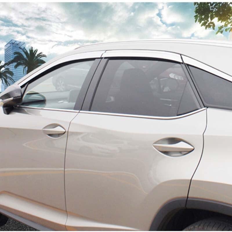 Chrome Window Visor Sun Guard Wind Rain Shield For Lexus RX 2016~2018