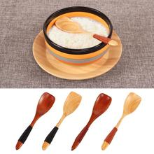Wooden Bamboo Spoon Innovative Dessert Coffee Milk Powder Spoon Binding Thread Honey Spoon Condiment Teaspoon Wholesale slim dessert spoon