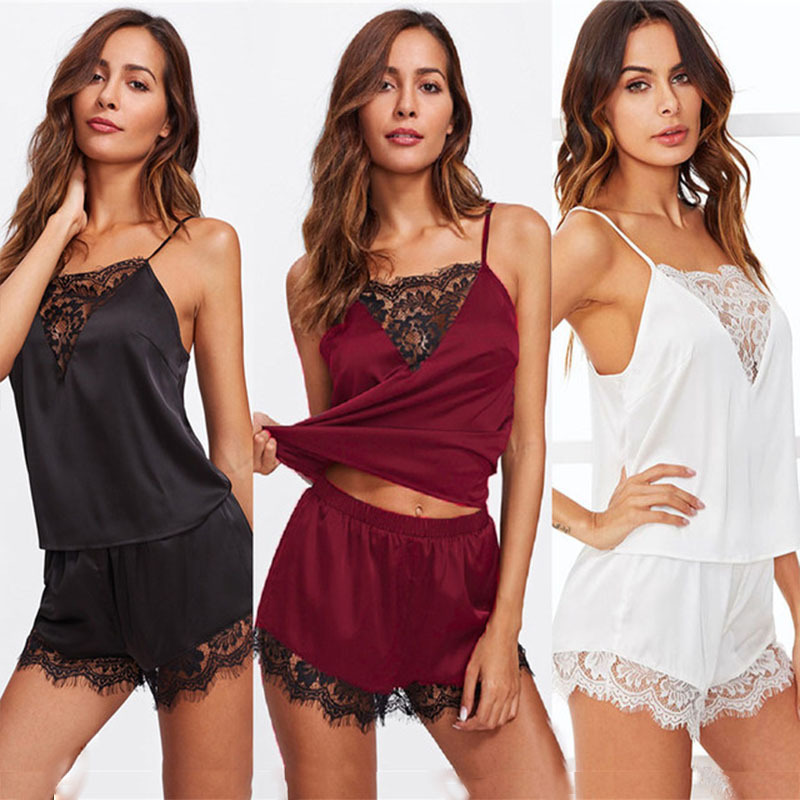 Pajamas     Set   For Women Lace Satin Sleepwear Summer Nightwear Sexy Lingerie Pyjamas Women Homewear Sleeveless Tops+Shorts #D
