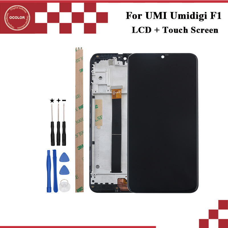 ocolor For UMI Umidigi F1 LCD Display and Touch Screen With Frame 6 3 Phone Accessories