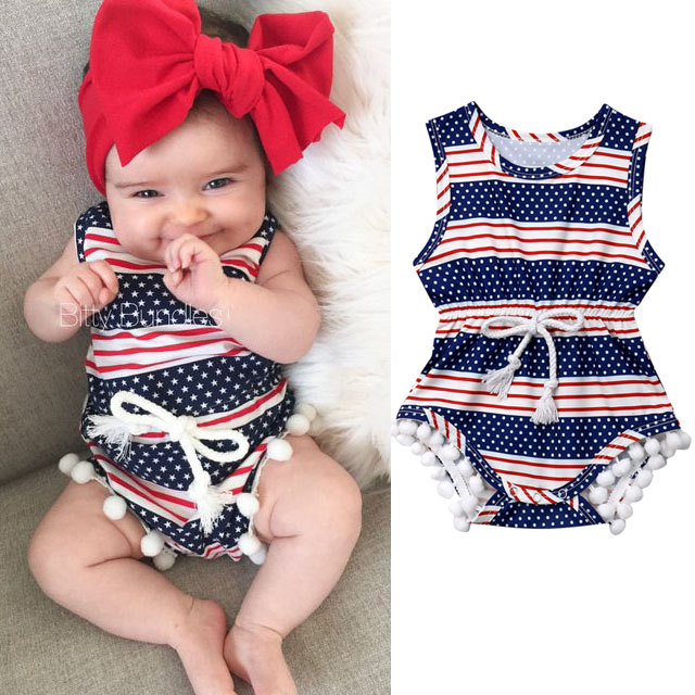 super Hero Movie Image Infant Baby Girl 4th of July Outfits Ball Tassel   Romper   Jumpsuit Clothes Sunsuit