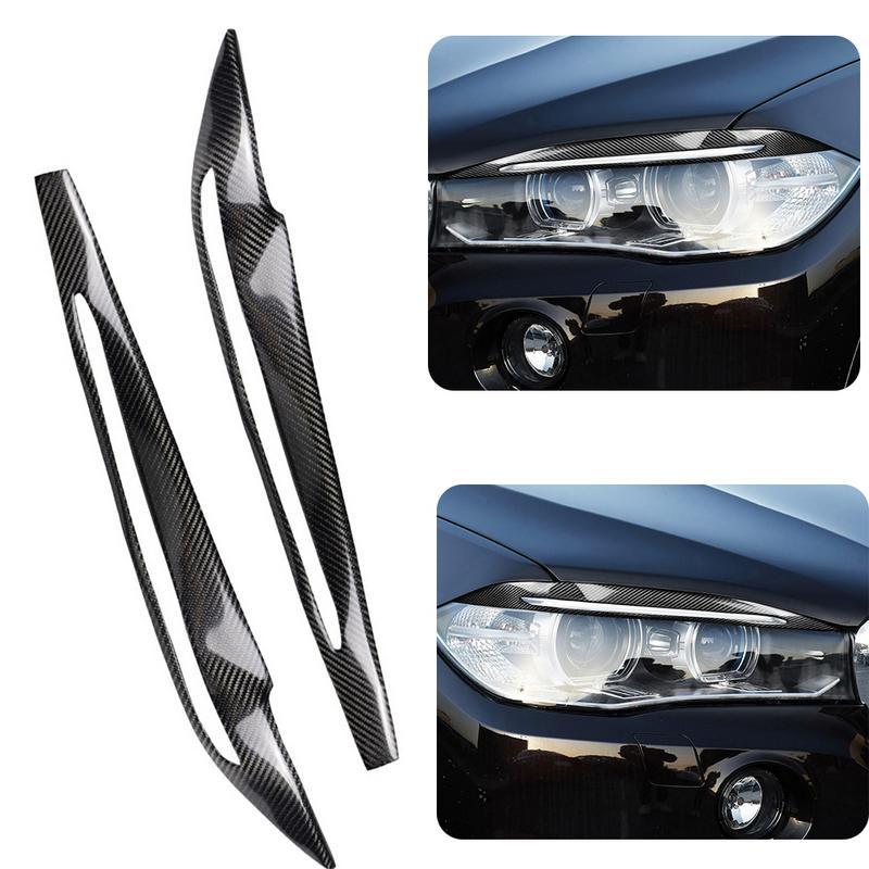 1 pc Autocollant De Voiture Carbone fibre pour la voiture Phare Couvercle De La Lampe Sourcil Pour BMW X5 F15 2014-2017 Auto Accessoires