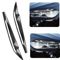 1pc Car Sticker Carbon Fiber For Car Headlight Cover Lamp Eyebrow For BMW X5 F15 2014 2017 Auto Accessories