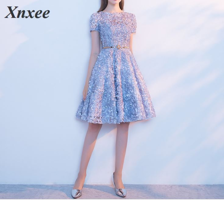 Xnxee Elegant Gray Lace Dress Simple Short Party Formal Gown