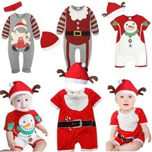 2018 Autumn Christmas Costumes Boys Girl Santa Suit Pure Cotton New Year's Wear Long Sleeved Jacket Baby Romper Newborn Clothes(China)