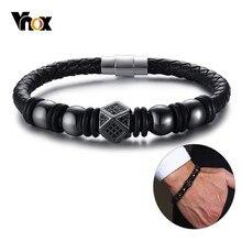 Vnox Top Quality Micro-inlay Stones Bead Bracelets for Men B