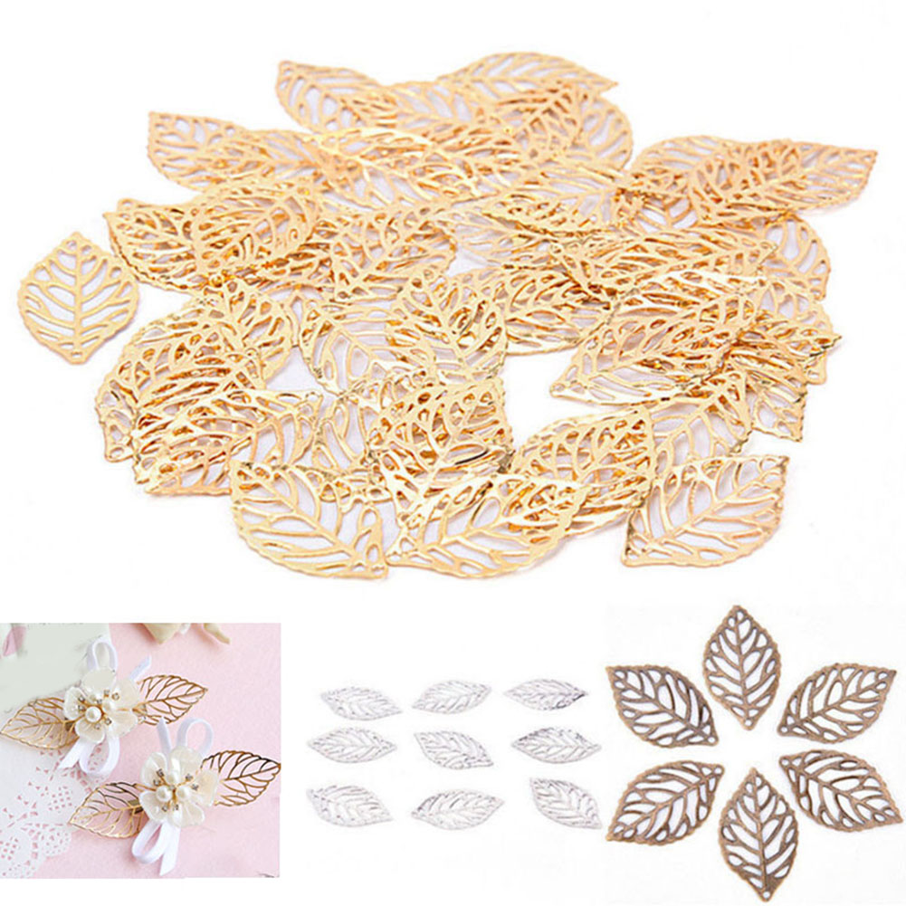 10pc Vintage Gold Silver Plated Craft Hollow Leaves Accessories For Hair Comb Jewelry Making DIY Charm Filigree Jewelry Findings