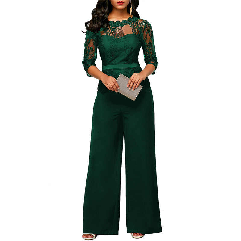 Gnao Womens Print Long Sleeve Wide Leg Pants Jumpsuits V Neck Belted Romper
