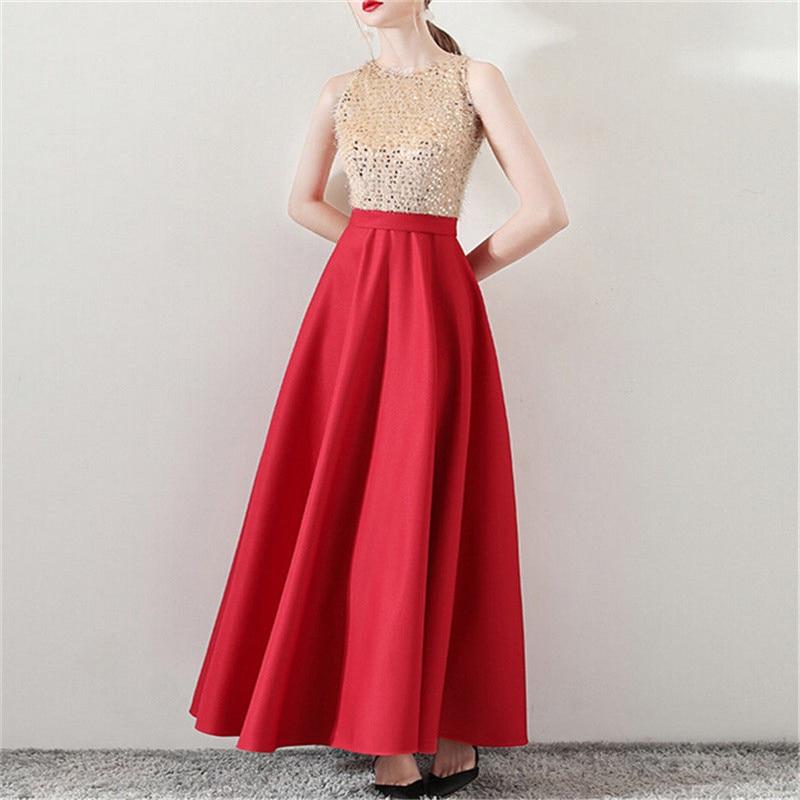 Women Sleeveless Red Long Elegant Sequin Formal Party Ball