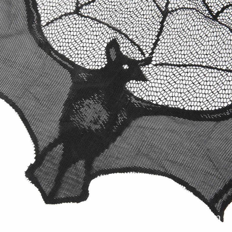 90X55 Cm Halloween Pesta Dekorasi Hitam Spider Bat Renda Bersih Lampu Meja Perapian Syal Valance Tirai untuk Jendela pintu Perapian 1 Pc