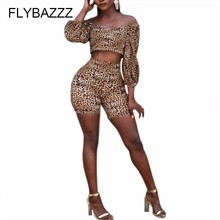 Leopard Print Two Piece Set Women Sexy Off Shoulder Lantern Sleeve Crop Top+Shorts High Waist Bandage Bodycon Yoga Sports Suits