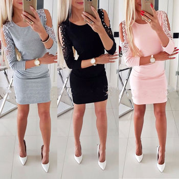 Fashion Women Cold Shoulder Bodycon Party Evening Cocktail Mini Dress Clubwear цена 2017