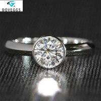 DovEggs 1ct cara 6.5mm F Color Round Brilliant Moissanite Diamond Engagemen Rings For Women 14K 585 White Gold Wedding Ring sets