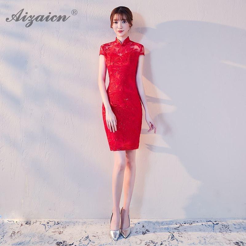 Robe courte rouge Cheongsam Qi Pao vêtements chinois traditionnels pour femmes Qipao robes de soirée Sexy longues robes de mariée orientales