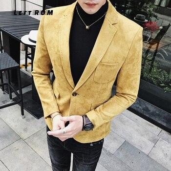 2018Suede Jacket Blazer 6 Colors Casual Blazer Hombre Casual Blazer Masculino Solid One Button Jacket Army Silver Blazer 4XL(58)