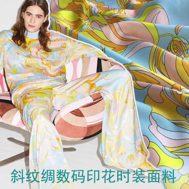 European brands with the same pattern twill silk pattern digital printing cloth women s fashion fabric