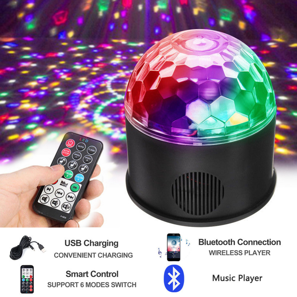 Us 28 74 48 Off 9w Rgb Led Disco Ball Light Bluetooth Music Speaker Player Dmx Usb Christmas Laser Projector Stage Par Light With Remote Control In
