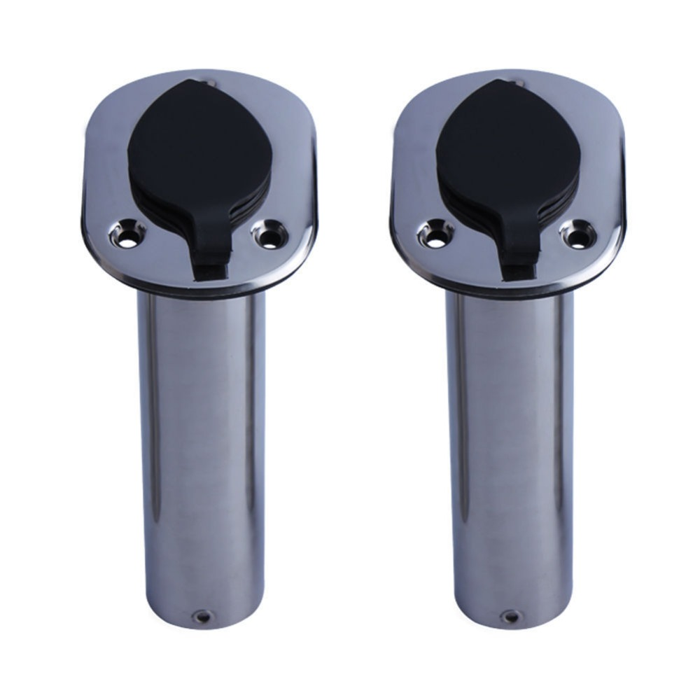 2 Pieces Stainless Steel Flush Mount Fishing Rod Holder 30 Degree Rod Pod For Marine Boat