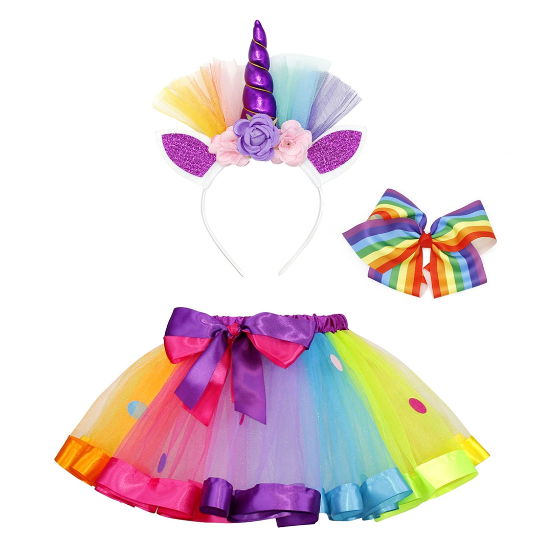 AmzBarley Unicorn Dresses For Little Girls Costume Rainbow Unicorns Dress Up Tutu With Headband
