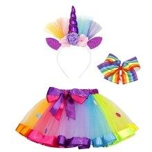 AmzBarley Unicorn Dresses For Little Girls Costume Rainbow Unicorns Dress Up Tutu With Headband