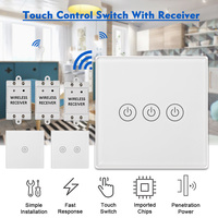 3 gang Touch Control Outlet Wireless Light Switch Panel For Household Appliances Unlimited Connections Up to 30 Meters White