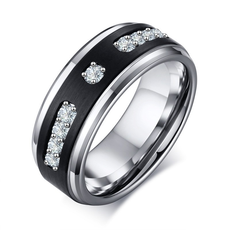 Silver Cubic Zircon Stone Black Matt Mens Tungsten Rings Wedding Engagement Jewelry US Size Free Chains Gifts