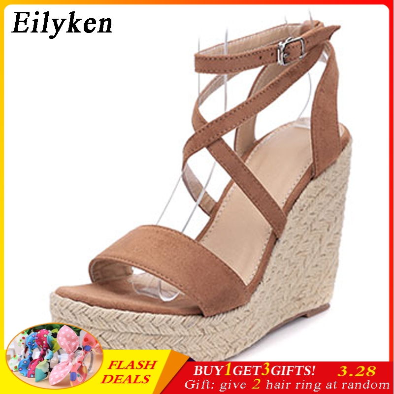 Eilyken New Women Gladiator Wedges High heel Sandals shoes Woman Rome Buckle Strap Pumps Straw Hemp Rope Platforms Sandals