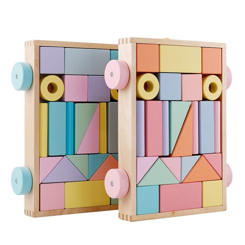 Montessori nordique jouets éducatifs en bois blocs de construction en bois ensemble en bois arc-en-ciel Blcoks décoration artisanat naturel jouets enfants 48