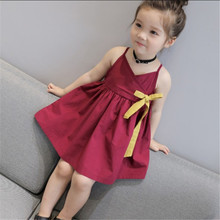 Girls dress summer new 2019 cotton solid color sling ribbon sleeveless childrens clothing