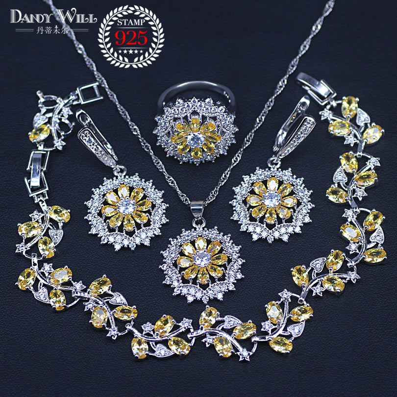 Sparking Yellow Cubic Zirconia Crystal Fashion Women Silver Color <font><b>Necklace</b></font> <font><b>Earrings</b></font> <font><b>Rings</b></font> <font><b>Bracelets</b></font> Jewelry Set image