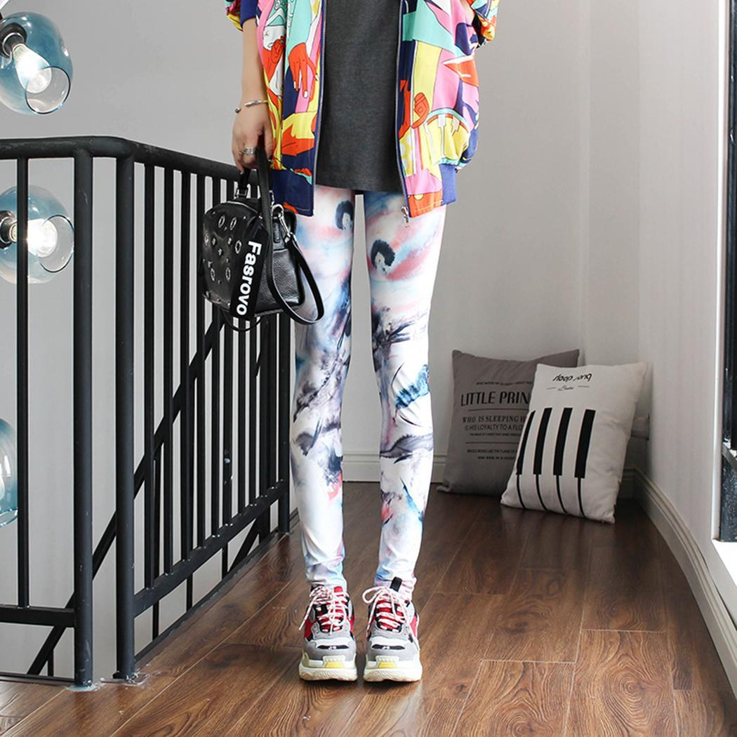 Leggings Ankle-Length-Pants Elastic-Waist Floral-Print Multicolor Casual Women All-Seasons