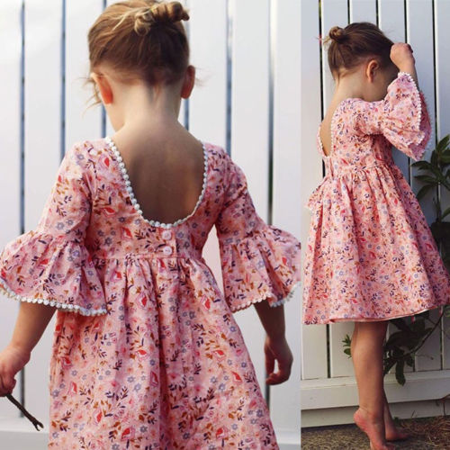 Cute Toddler Kid Baby Girl Long Sleeve Floral Party Princess Pageant Dress