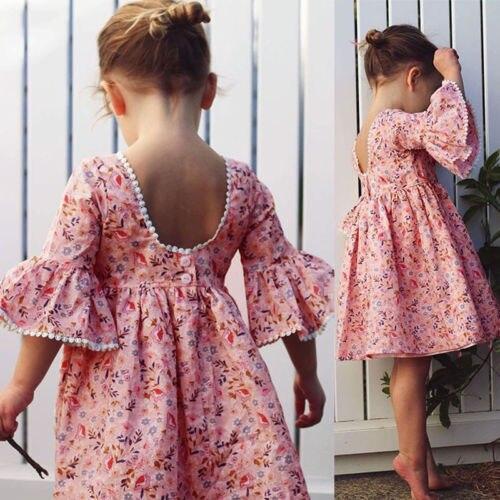 Nette Kleinkind Kind Baby Mädchen Langarm Blumen Party Prinzessin Boho Pageant Kleid