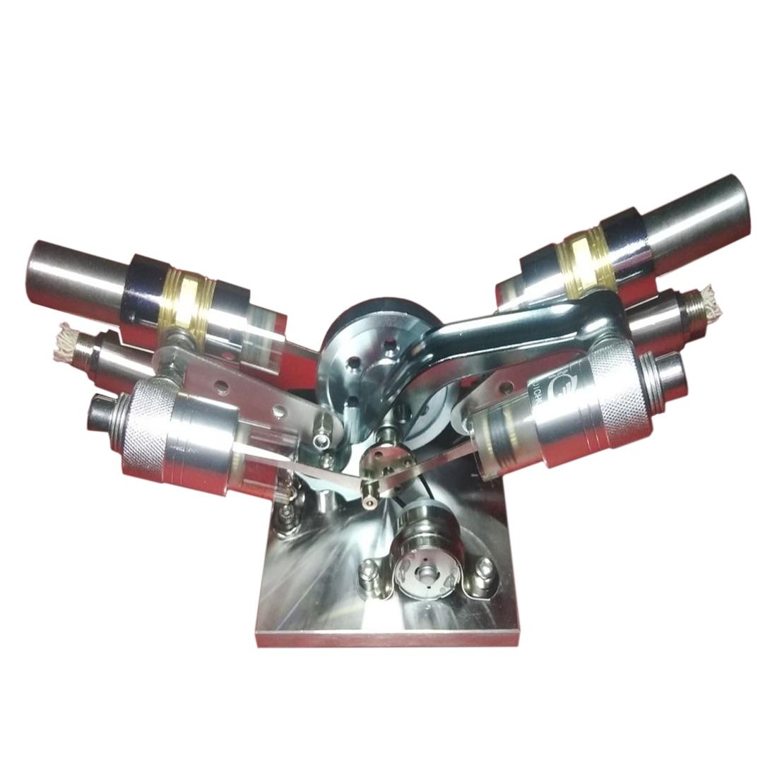 Métal de haute puissance Cylindre Chaud Double-cylindre Stirling modèle pour moteur À Combustion Externe jouet éducatif pour L'enfant L'apprentissage Des Sciences