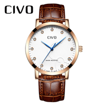CIVO Mens Watches Luxury Waterproof Analogue Date Watch Men Fashion Casual Brown Genuine Leather Quartz Wrist Watches Men Clock men watches eyki brand luxury waterproof genuine leather quartz watch classic independent seconds fashion casual watches hodinky